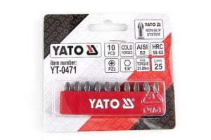 Krótkie YATO YT-0475 GROTY ŚRUBOKRĘTOWE PH2 25MM ZESTAW 10-SZTUKOWY 10-sztukowy