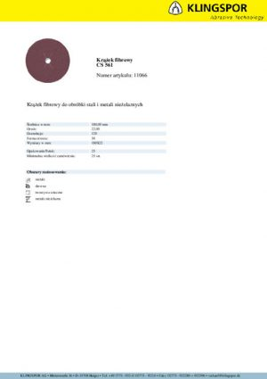 Fibrowe KLINGSPOR P8 F180 120 KRĄŻEK FIBROWY CS561 GRANULACJA 120 180MM 11066 1,80mm