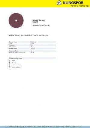 Fibrowe KLINGSPOR P8 F180 40 KRĄŻEK FIBROWY CS561 GRANULACJA 40 180MM 11061 1,80mm