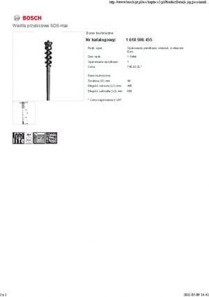SDS Max BOSCH 1618596455 WIERTŁO PRZEBICIOWE SDS-MAX-9 45x450x600MM P NB 1618596455