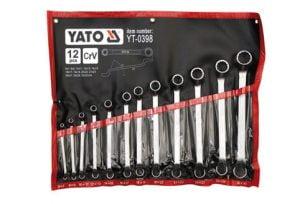 Oczkowe Odgięte YATO YT-0398 KOMPLET KLUCZY OCZKOWO-ODGIĘTYCH 12-CZĘŚCI 6-32MM POLEROWANE 12-czĘŚci