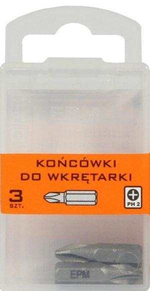 Krótkie EPM E-400-0372 KOŃCÓWKI DO WKRĘTARKI 25MM 3SZT. PH2 2,5mm