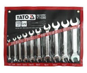 Komplety Kluczy Płaskich YATO YT-0380 KLUCZE PŁASKIE Z POLEROWANĄ GŁÓWKĄ 10-CZĘŚCI 6-27MM ,glowka