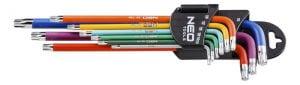 Komplety NEO TOOLS N09-518 KLUCZE TORX T10-50 9 SZTUK KOLOROWE klucze