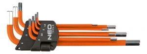 Komplety NEO TOOLS N09-517 KLUCZE SZEŚCIOKĄTNE 1.5-6MM 7 SZTUK 1.5-6mm