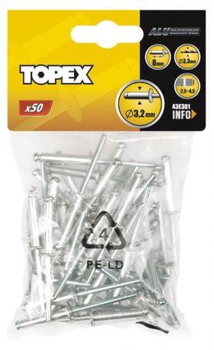 Z Łbem Płaskim Al/Al TOPEX T 43E403 Nity Aluminiowe Op-50szt 4.0×12.5mm 4.0×12.5mm
