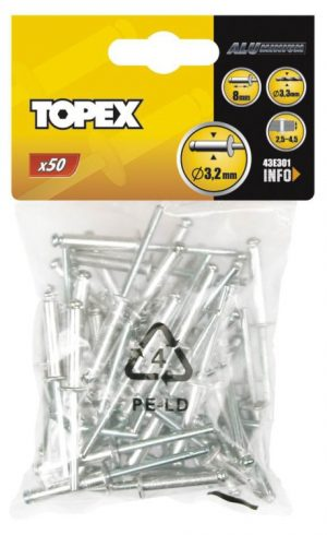 Z Łbem Płaskim Al/Al TOPEX T 43E301 Nity Aluminiowe Op-50szt 3.2x8mm 3.2x8mm