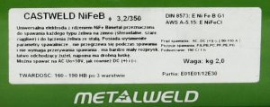 Do Żeliwa METALWELD ELE EŻM 2.5C ELEKTRODA DO ŻELIWA CASTWELD NI FE- B -CL 2.5x350MM SZTUKA (sztuka)