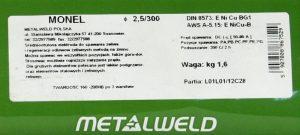 Do Żeliwa METALWELD ELE EŻM 2.5S ELEKTRODA DO ŻELIWA MONEL NI CU-DO NAPRAW ODL 2.5x300MM SZT. 2.5s
