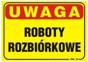 Tablice INNY TAB TBO-73 TABLICA 35x25CM UWAGA! ROBOTY ROZBIÓRKOWE 35x25cm