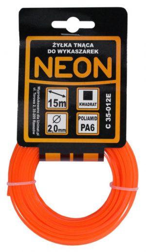 Kwadratowe MCGARDEN C 35-012E ŻYŁKA DO WYKASZARKI KWADRAT NEON 2.0MM 15M 2.0mm