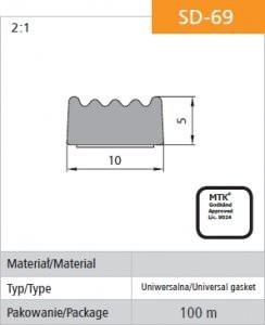Gumowe STOMIL USZ SD-69 USZCZELKA SAMOPRZYLEPNA CZARNA D-69/4-0 10x5MM 10x5mm