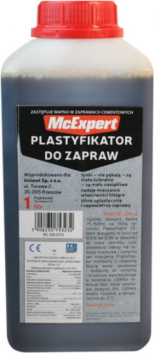 Plastyfikatory MCEXPERT MC-500-0310 PLASTYFIKATOR DO ZAPRAW ZASTĘPUJĄCY WAPNO 1L mc-500-0310
