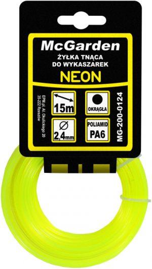 Okrągłe MCGARDEN MG-200-0116 ŻYŁKA DO WYKASZARKI OKRĄGŁA NEON 1,6MM 15M 1,6mm