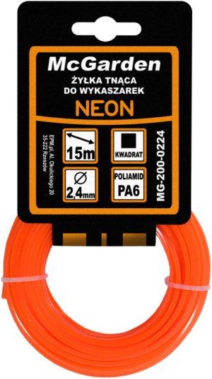 Kwadratowe MCGARDEN MG-200-0220 ŻYŁKA DO WYKASZARKI KWADRAT NEON 2.0MM 15M 2.0mm
