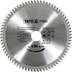 Ze Spiekiem YATO YT-6093 TARCZA WIDIOWA DO ALUMINIUM 210x30MM 72 ZĘBY 210x30mm
