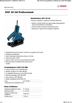Bruzdownice BOSCH 601612508 BRUZDOWNICA GNF 20CA 900W 20MM 2,0mm