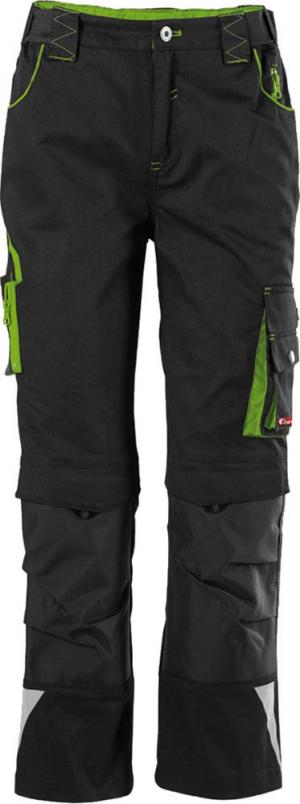 Odzież robocza FORTIS spodnie dziecięce z paskiem w talii 24, czarne/zielone, rozmiar 134-140 134-140