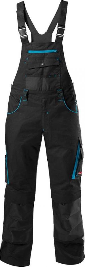 Odzież robocza FORTIS Spodnie ogrodniczki 24, czarne/turkusowe, rozmiar 90 czarne/turkusowe,