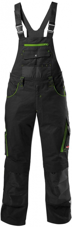 Odzież robocza FORTIS Spodnie ogrodniczki 24, czarne/zielone, rozmiar 102 czarne/zielone,