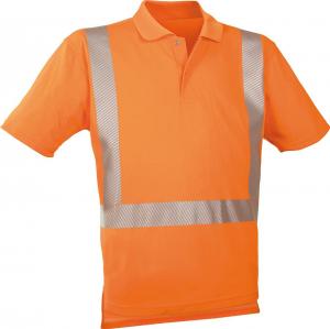 Odzież o wysokiej widoczności Koszulka polo ostrzegawcza fluorescencyjna pomarańczowa, rozmiar S fluorescencyjna