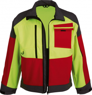 Odzież do pracy w leśnictwie Kurtka softshellowa ForestJackRed, rozmiar XL, czerwony/antracyt/żółty czerwony/antracyt/żółty