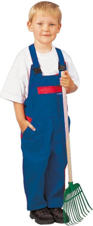 Odzież robocza Spodnie ogrodniczki dziecięce, 100%BW, 290g/m², 122/128, chabrowy/czerwony 100%bw,
