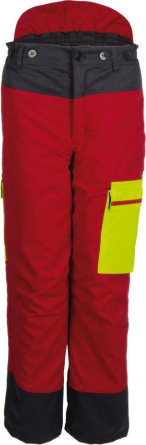 Odzież do pracy w leśnictwie Spodnie z paskiem w talii Forest Jack Red roz. 62/64, czerwony/żółty 62-64